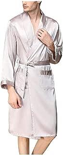 Surprise S Men Solid Bathrobe Sleepwear Faux Silk Kimono Robe Casual Long Sleeve
