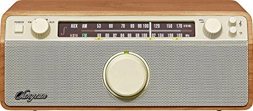 Sangean WR-12 Desktop-Radio (UKW/MW-Tuner, AUX-In, Kopfhöreranschluss, integrierter Subwoofer) walnuss/cremeweiß