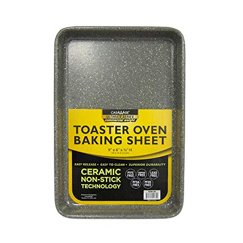 casaWare Ultimate Series Toaster Ofen 22,9 x 15,2 x 1,9 cm Keramik-Antihaftbeschichtung 9 x 6 x 0.75-Inch Silber Granit
