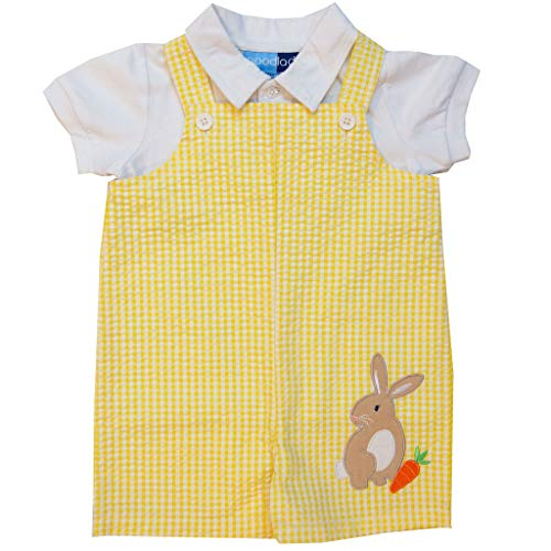 Good Lad Newborn/Infant Boys Seersucker Shortall Sets with Easter Bunny Appliques (Yellow, 3/6M)