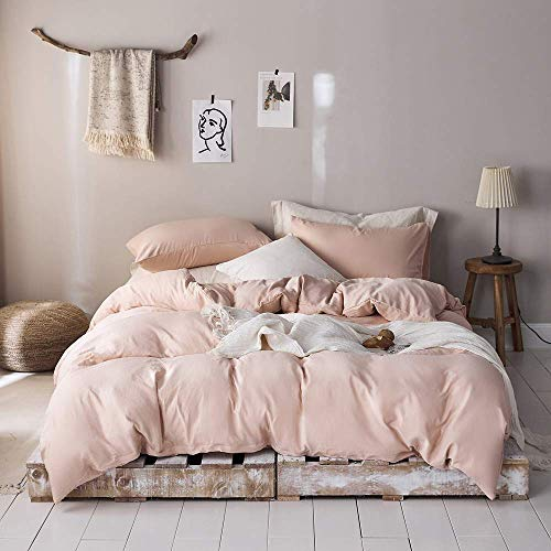 Girls Queen Duvet Cover Blush Pink Bedding Sets Queen Blush Comforter Cover Queen Size Hotel Microfiber Bedding Queen Lightweight Durable Full Size