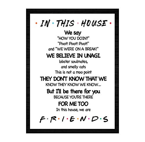 """LaurBella for Friends Quotes TV Poster in This House Sign Friends TV Show Poster Funny Quotes Bedroom Family Rules Poster 8"""" x 10"""" Unframed"""