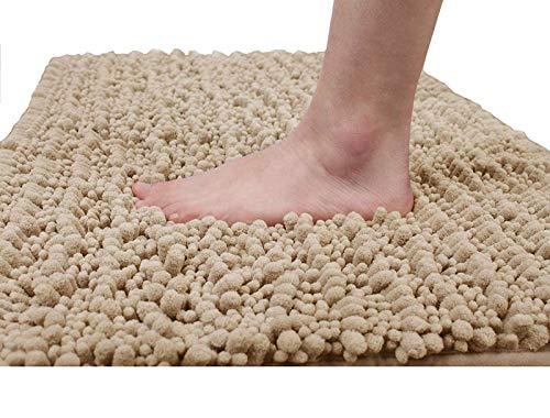 Yimobra Alfombrilla de baño de microfibra antideslizante grande, alfombra de baño ducha suave de alta absorción, Beige, 31.5 X 19.8 Inch