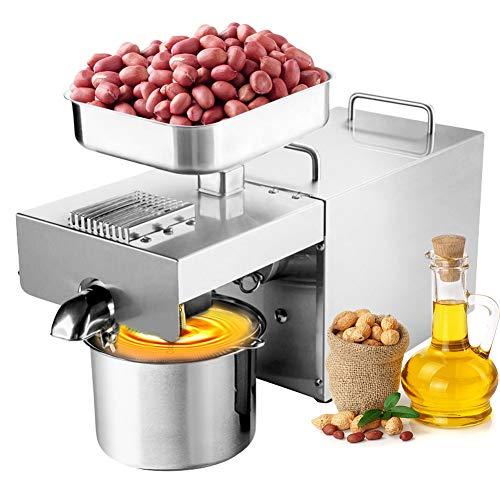 IDABAY Prensa de aceite eléctrica, prensa de aceite caliente y frío, acero inoxidable 304, máquina molinillo de aceite de Coco y oliva, para nueces sésamo, 720 W