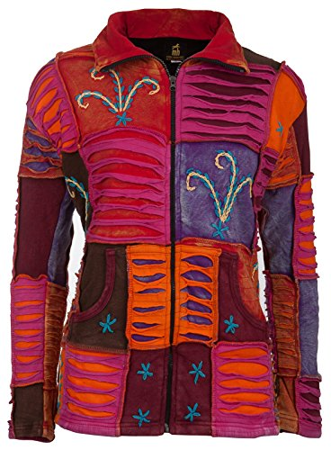 Michael Heinen Patchwork-Strickjacke | Hippie-Jacke | Modell Flower Power in Bunt | Innenfutter aus Fleece | Damen | Goa-Jacket | Cutwork | Kapuzen-Sweatjacke | Individuell | Handarbeit aus Nepal