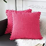 sykting Hot Pink Throw Pillow Covers 20x20 Soft Modern Farmhouse Throw Pillow Cases with Pom Poms Decorative for Couch Sofa Bed Living Room Pack of 2