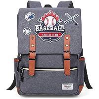 Modoker Vintage Baseball Pattern Backpack with USB Charging Port