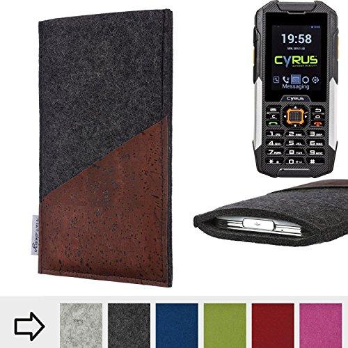 flat.design Handy Hülle Evora für Cyrus cm 16 handgefertigte Handytasche Kork Filz Tasche Case fair dunkelgrau