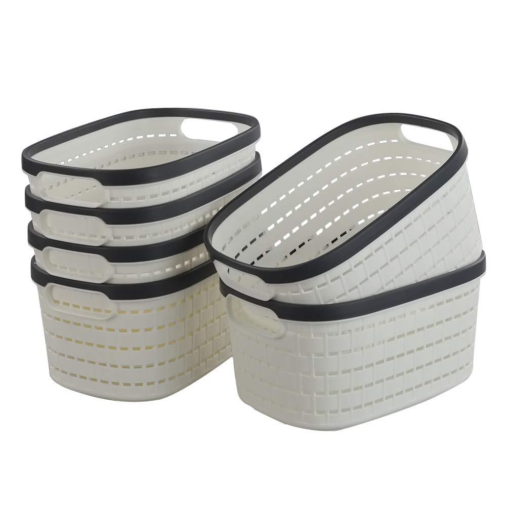 Fosly Cesta de Plástico para Almacenamiento, Blanco, Paquete de 6: Amazon.es: Hogar