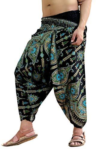 Price comparison product image Sarjana Handicrafts Mens Womens Cotton Golden Printed Harem Pants Yoga Drop Crotch Trouser (Blue)