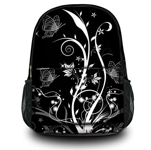 Zaino Sportivo Multifunzionale Luxburg Design , Motivo : Piante e farfalle bianco e nero