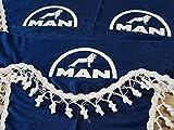 3 Piezas Azul Cortinas con Borlas Blancas TAMAÑO UNIVERSAL para todos MAN Camión Modelos Accesorios Decoración Tejido de Felpa