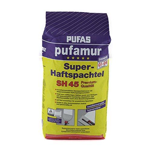 PUFAS SH45 pufamur Super-Haftspachtel Kunstharzvergütete, faserverstärkte Gipsspachtelmasse für innen 5kg, weiß