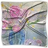 Pañuelo cuadrado de seda mulipurposas con diseño de rosas de oveja en flor