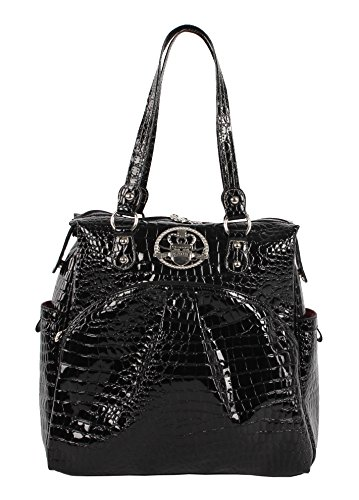 Kathy Van Zeeland Luggage Croco PVC 16' Shopper Bag (16in, Black)