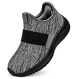 Troadlop Kids Shoes Slip on Fashion Tennis Shoes for Kids Size 10 M US Little Kid Black/Grey