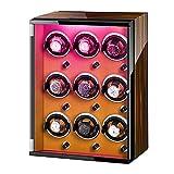 GLXLSBZ Caja de Enrollado de Reloj 9 para Reloj automático Luces de Colores Almohadas de Reloj Ajustables Motor silencioso para Hombre Relojes de Mujer Accesorios para Reloj de Mujer y Hombre