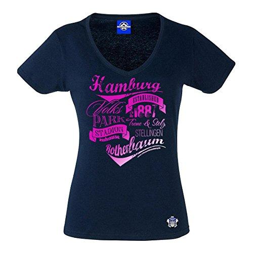 Volkspark Hamburg Streetwear Damen T-Shirt Vintage Typo Metallic Pink Druck (Navy, l)