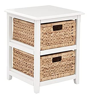 OSP Home Furnishings Seabrook 2-Tier Storage Unit with Natural Baskets White Finish