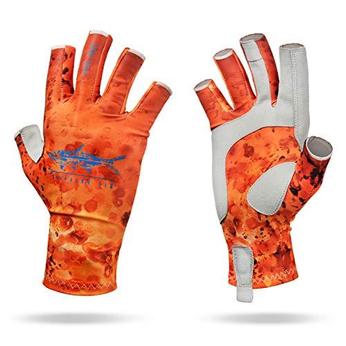 Southern Fin Apparel Kayak Fishing Gloves for Men Women Kids UPF50+ UV Sun Protection Fingerless Flyfishing, Rowing, Kayaking, Paddling, (Orange, Large/X-Large)