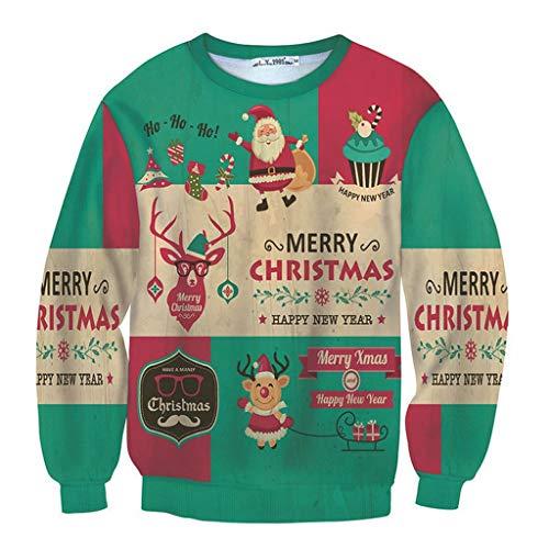 SHE.White 3D Drucken Herren Pullover Langarmshirt Weihnachtspullover Weihnachtsdruck Winter Loose Jumper Santas Tops Outwear Coat Warm Bequem Bluse Christmas Pulli Sweater