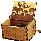 Cuzit Caja musical de madera con manivela de mano de madera de The Beatles Let it Be