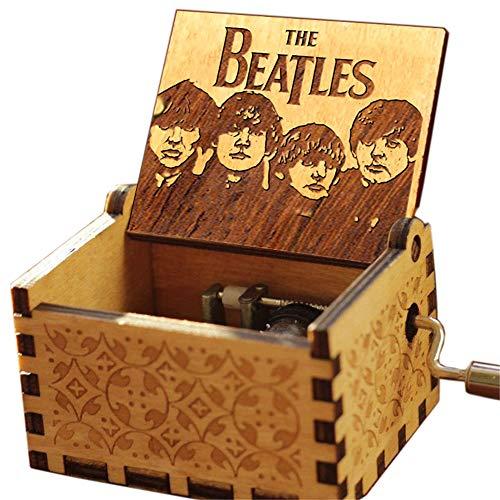"""Cuzit Musikbox, Antik-Optik, geschnitzte Spieluhr mit Handkurbel - Melodie: """"The Beatles - Let it Be"""" - Holzspieluhr, Spielzeug"""