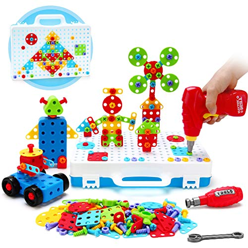 Eahumm STEM Learning Toys, 232 Pcs Electric Drill Toys Educational Set Building Blocks Sets with Drill ,3D Construction Engineering Blocks Puzzle Toys for Boys and Girls Ages 3 4 5 6 7 8 Years Old
