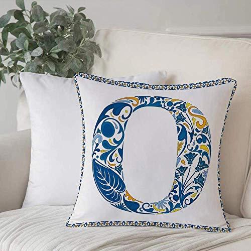 Qoqon Funda de Almohada, Funda de cojín Letra O, Letra mayúscula Azul en el Marco Azulejo portugués Arte Azulejo Floral DesigHome Decor Funda de cojín Cuadrado Acogedor para sofá Funda de Almohada