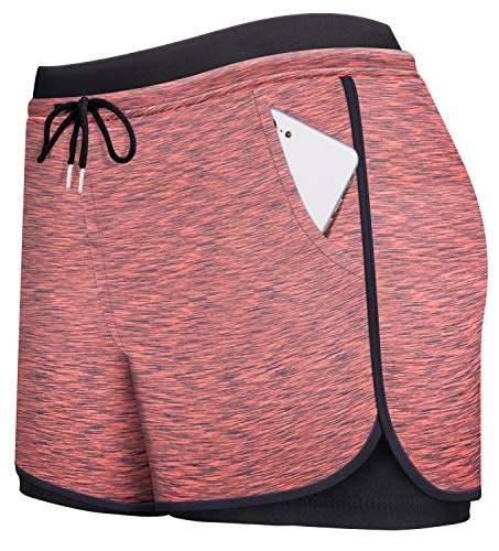 Spandex Shorts Women,Cucuchy Running Shorts Plus Size Soccer Cycling Comfy Athleisure Wear Cool Stretchy Summer Yoga Fitness Gym Short Pants Home Loungewear with Pocket Red L