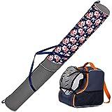 Ferocity Conjunto Bolsas para de Ski y para Botas y Casco de ski Set de Esqui 170 cm Flower + Azul-Naranja con Malla [053]