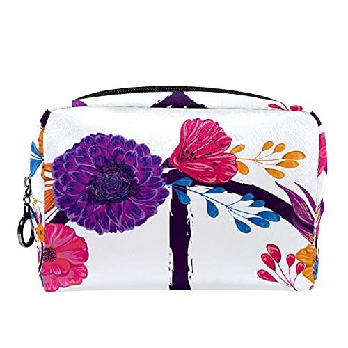 Makeup Tasche Tragbare Reisekosmetiktaschen, Symbol für Frieden und Liebe