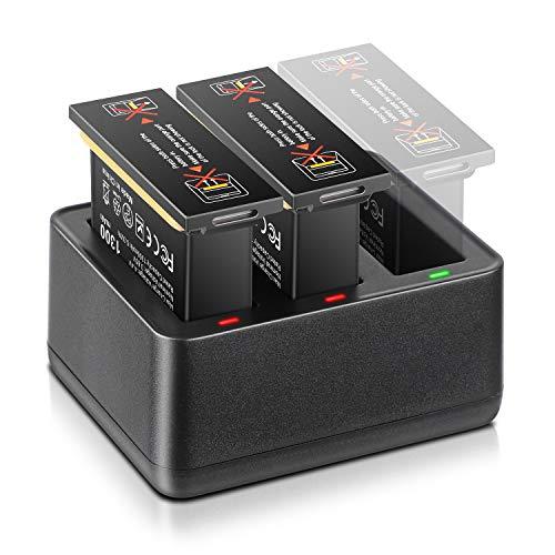 ENEGON Ersatzbatterie für OSMO Action 2er Pack (3.85V 1300 mAh) + Intelligentes 3-Kanal Schnellladegerät für DJI OSMO Action