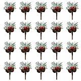 Yumfoz 20 púas artificiales de pino de Navidad con conos de...