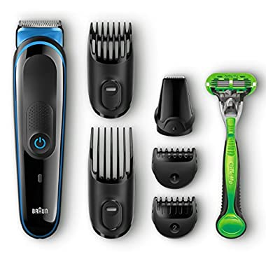 Braun MGK3040 Men's Beard Trimmer for Hair/Head Trimming Grooming Kit with 4 Combs & Gillette Body Razor, 13 Length Settings for Ultimate Precision
