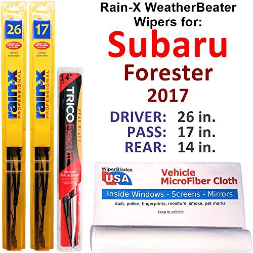 Rain-X WeatherBeater Wipers for 2017 Subaru Forester Set w/Rear Rain-X WeatherBeater Conventional Blades Wipers Set Bundled with MicroFiber Interior Car Cloth