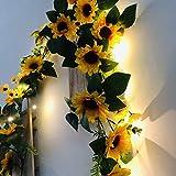 ZSML Guirnalda de guirnaldas de Girasoles Artificiales, 20 Luces LED Blancas cálidas para Colgar con Pilas, alimentadas para la decoración del jardín de la Fiesta de Bodas (C-Sunflower, 6.56FT /