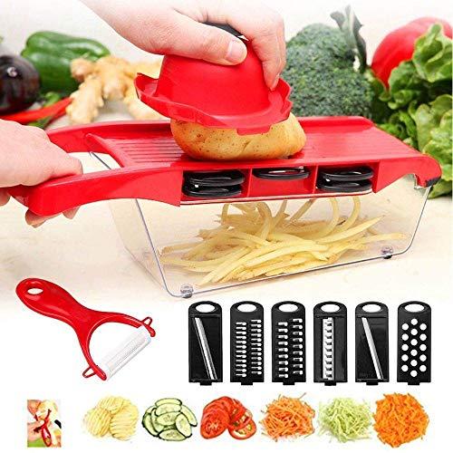 Mandoline em inox 6 em 1 slicer nicer ralador fatiador cortador de legumes e frutas com recipiente