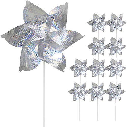 SUNPRO Reflective Pinwheels, 10-Pack Extra Sparkly Pin Wheel for Garden Decor, Bird Repellent Devices Deterrent to Scare Birds Away from Yard Patio Garden Farm (10)
