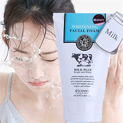 Espuma limpiadora Facial blanqueadora, Limpiador hidratante con Leche limpiadora Q10, Limpiador Facial con ácido salicílico