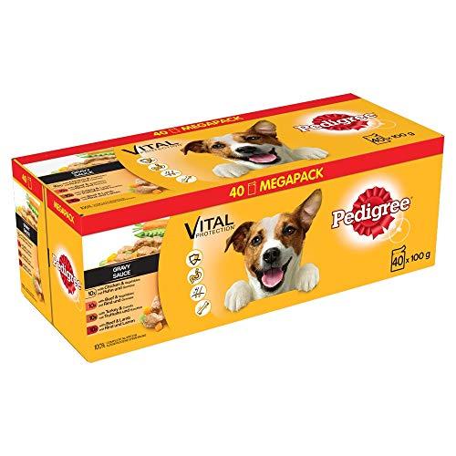 PEDIGREE Vital Protection – Comida para Perros en Bolsa, Salsa de Pollo, Ternera, Ave y Cordero, 40 x 100g, Paquete Grande