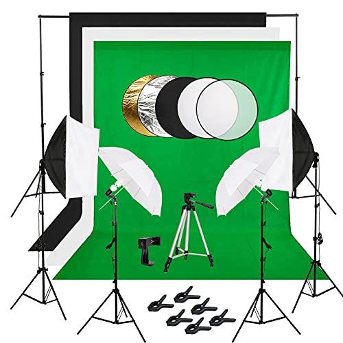 Toti Kit de iluminación de estudio de fotografía, sistema de soporte de fondo de 8 x 10 pies, kit de iluminación continua para fotografía de vídeo