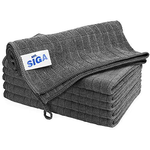 MR.SIGA Chiffon de Nettoyage en Microfibre, Serviettes de Nettoyage Tout Usage, Lot de 6, Taille 13,8 x 15,7 Pouces