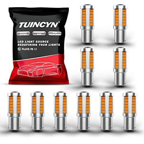 TUINCYN BAU15S PY21W Ampoule LED Jaune Clignotant Ampoule Super Brillant 5630 33SMD 1156 7507 12496 7507AST Feu de Recul Feu de Recul Feu De Recul Feu de Recul DC 12V (Lot de 10)