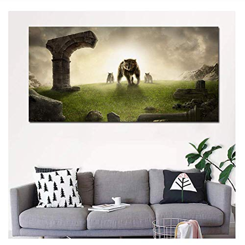 XuFan Polo Bear Painting Animal Art Canvas Painting New Posters Prints Wall Pictures Living Room Decoration Gift Wall Art-50x100cm Sin Marco