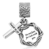 Q&Locket Religion Cross Holy Bible Book Charms Dangle Charm for European Beads Bracelets (Isaiah 41:40 Do Not Fear for I am with You)