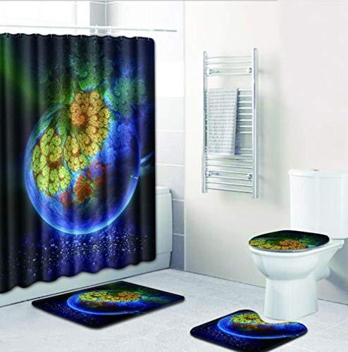 WODETIAN 4pcs/set Cute Planet Galaxy Space Pattern Bathroom Mat Set Shower Curtain Pedestal Rug Set Bath Mat Set Lid Toilet Cover Mat with 12 Hooks,D,180 * 18050 * 80