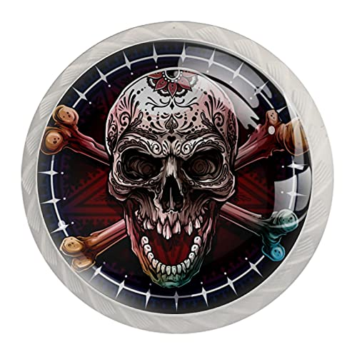 Graphic Human Skull, pomello per armadietto, cassetto, set da 4 pezzi per ufficio, casa, cucina, bagno, credenza