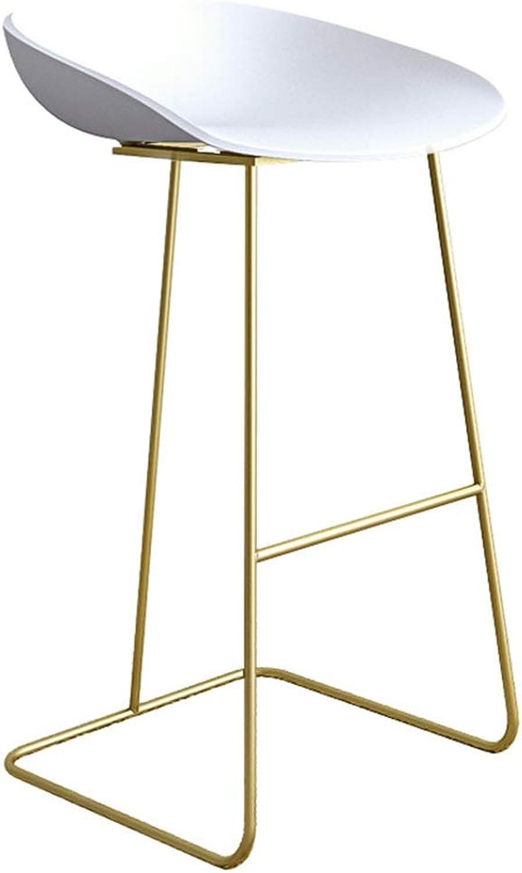 Barstool Bar Chair Retro Industrial Style Stool Kitchen   Restaurant bar Furniture gold Metal Legs + Black   White PP Seat Cushion (Seat Height  65 75cm)