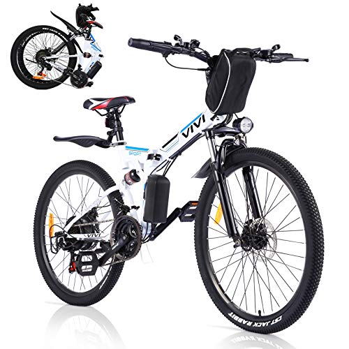 VIVI Folding Electric Bike For Adults, 350W Motor 26 inch E-bike Electric Mountain Bicycle for man&woman,with Professional SHIMANO 21 Speed Gears and Removable36V 8Ah Lithium-Ion Battery